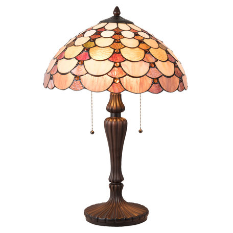 Tafellamp Tiffany ø 40*60 cm E27/max 2*60W Meerkleurig | 5LL-5902 | Clayre & Eef
