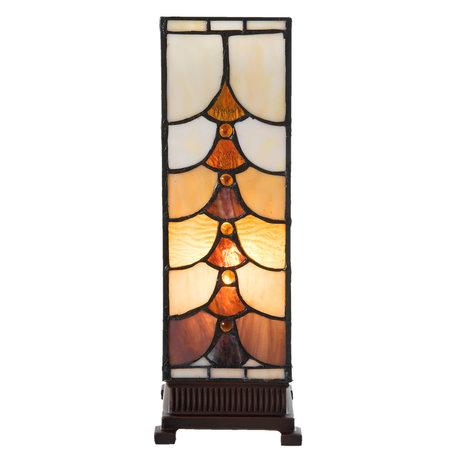Tafellamp Tiffany 12*12*35 cm E14/max 1*25W Meerkleurig   5LL-5903   Clayre & Eef