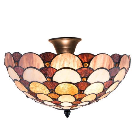 Plafondlamp Tiffany ø 41*29 cm E14/max 2*40W Meerkleurig | 5LL-5904 | Clayre & Eef