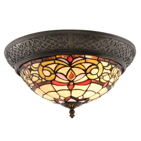 Plafondlamp Tiffany ø 38*20 cm E14/max 2*40W Meerkleurig | 5LL-5909 | Clayre & Eef