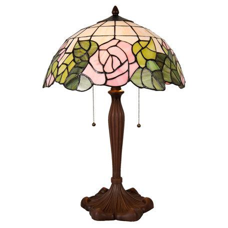 Tafellamp Tiffany ø 40*61 cm E27/max 2*60W Meerkleurig   5LL-5912   Clayre & Eef