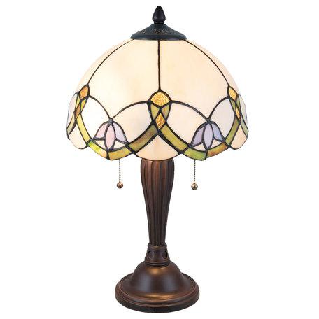 Tafellamp Tiffany ø 30*50 cm E27/max 2*40W Meerkleurig | 5LL-5918 | Clayre & Eef