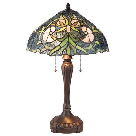 Tafellamp Tiffany ø 40*61 cm E27/max 2*60W Meerkleurig | 5LL-5922 | Clayre & Eef