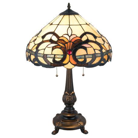 Tafellamp Tiffany ø 40*63 cm E27/max 2*60W Meerkleurig | 5LL-5924 | Clayre & Eef