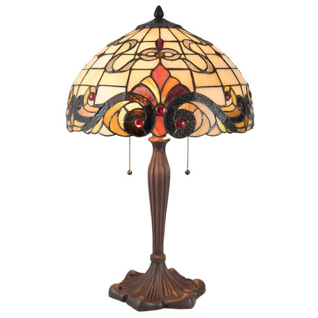 Tafellamp Tiffany ø 40*61 cm E27/max 2*60W Meerkleurig | 5LL-5925 | Clayre & Eef
