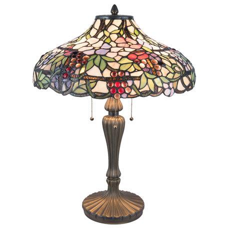 Tafellamp Tiffany ø 45*60 cm E27/max 3*60W Meerkleurig | 5LL-5926 | Clayre & Eef