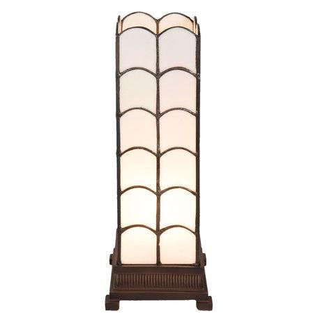 Tafellamp Tiffany 14*14*36 cm E14/max 1*25W Wit | 5LL-5929 | Clayre & Eef