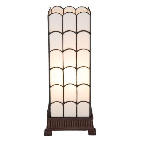 Tafellamp Tiffany 17*17*45 cm E27/max 1*40W Wit | 5LL-5930 | Clayre & Eef