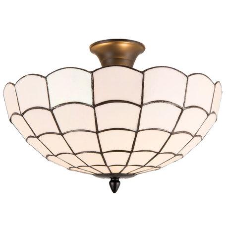 Plafondlamp tiffany ø 40*30 cm E14/max 2*40W Wit | 5LL-5932 | Clayre & Eef