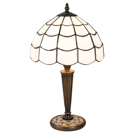 Tafellamp Tiffany ø 25*43 cm E27/max 1*40W Wit | 5LL-5936 | Clayre & Eef