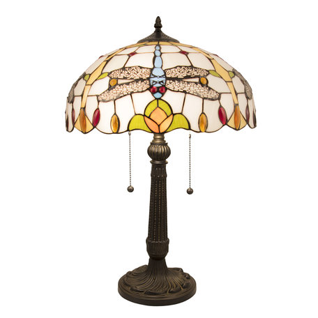 Tafellamp Tiffany ø 40*60 cm E27/max 2*60W Meerkleurig | 5LL-5945 | Clayre & Eef