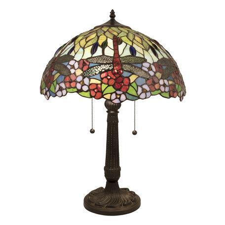 Tafellamp Tiffany ø 42*60 cm E27/max 2*60W Meerkleurig | 5LL-5947 | Clayre & Eef