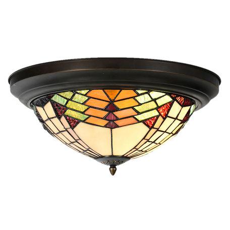 Plafondlamp Tiffany ø 40*18 cm E14/max 2*40W Meerkleurig | 5LL-5962 | Clayre & Eef