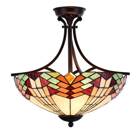 Plafondlamp Tiffany ø 51*50 cm E27/max 3*60W Meerkleurig | 5LL-5963 | Clayre & Eef
