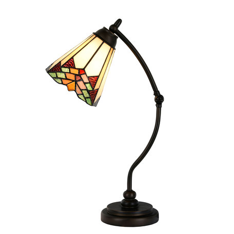 Tafellamp Tiffany ø 26*50 cm E14/max 1*40W Meerkleurig | 5LL-5964 | Clayre & Eef
