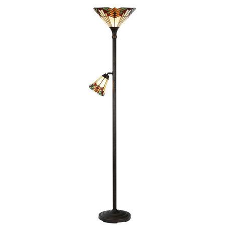 Vloerlamp Tiffany ø 30*178 cm E27/max 1*100W  E14/max 1*25W Meerkleurig | 5LL-5969 | Clayre & Eef