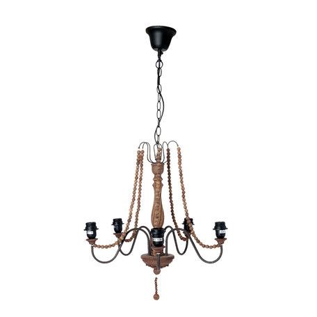 Hanglamp ø 54*60 cm 5x E27/60W Bruin | 5LMP202 | Clayre & Eef