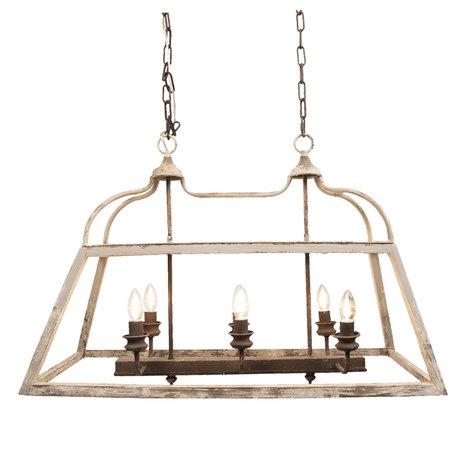 Hanglamp 87*35*60 cm E14/max 6*25W Wit | 5LMP237 | Clayre & Eef