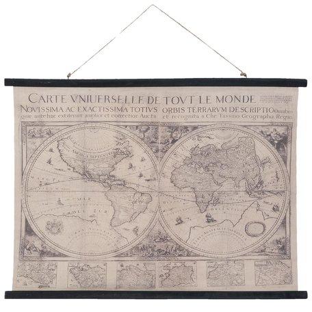 Wandkaart wereld 105*2*76 cm Grijs   5WK0004   Clayre & Eef