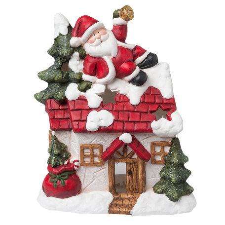 Waxinelichthouder kerstman 31*15*37 cm Meerkleurig | 6TE0161 | Clayre & Eef