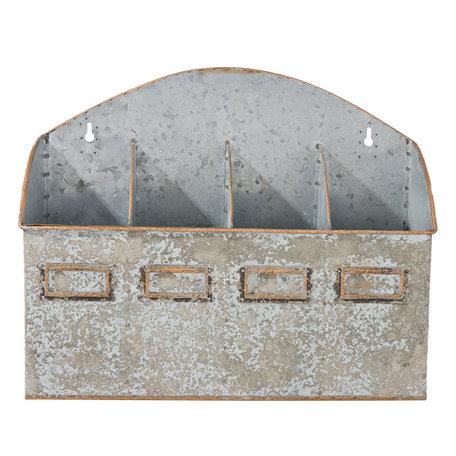 Vakkenbak 34*10*27 cm Grijs | 6Y2688 | Clayre & Eef