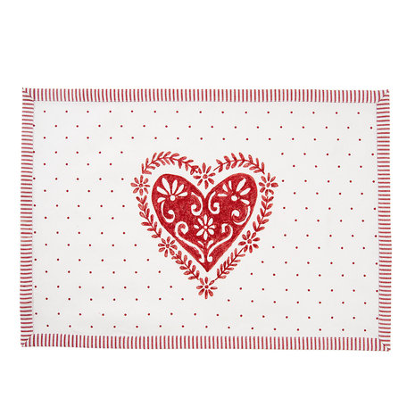 Placemat ( set 6 ) 48*33 cm Rood   BOW40   Clayre & Eef