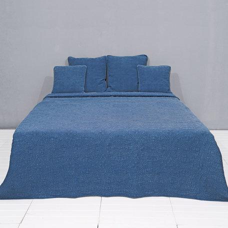 Plaid stonewashed 150*150 cm Blauw | Q181.015BL | Clayre & Eef