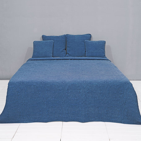 Bedsprei stonewashed 180*260 cm Blauw | Q181.060BL | Clayre & Eef