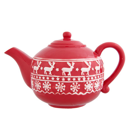 Theepot 24*13*15 cm / 1.1L Wit/rood | XTE | Clayre & Eef