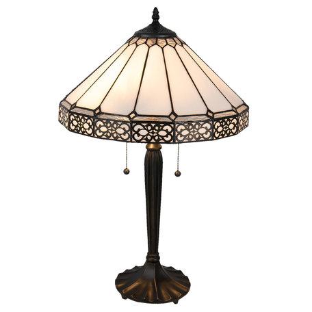 Tafellamp Tiffany ø 41*62 cm E27/max 2*60W Zwart | 5LL-5211 | Clayre & Eef