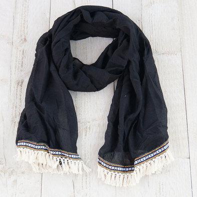 Sjaal 70*180 cm Zwart | MLSC0202D | Clayre & Eef
