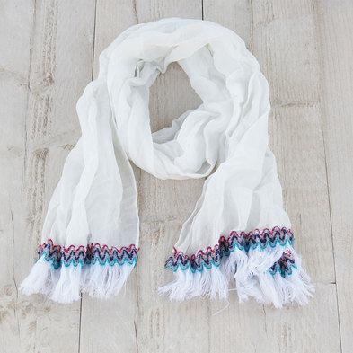 Sjaal 70*180 cm Wit   MLSC0204W   Clayre & Eef