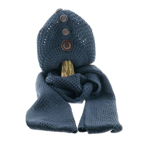 Sjaal/muts 25*70/20*21 cm Blauw | MLSH0001BL | Clayre & Eef