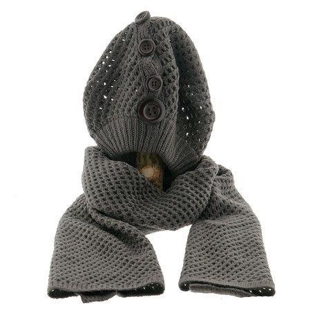 Sjaal/muts 25*70/20*21 cm Grijs | MLSH0001DG | Clayre & Eef