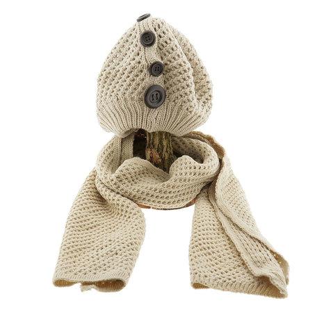 Sjaal/muts 25*70/20*21 cm Beige | MLSH0001N | Clayre & Eef