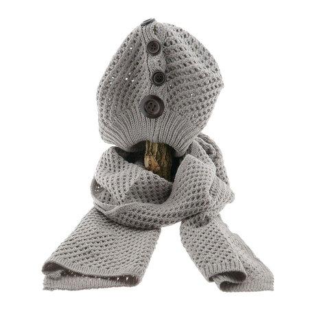 Sjaal/muts 25*70/20*21 cm Grijs | MLSH0001S | Clayre & Eef