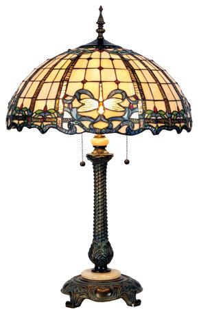 Tafellamp Tiffany ø 50*80 cm E27/max 2*60W Creme   5LL-5298   Clayre & Eef