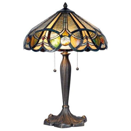 Tafellamp Tiffany ø 41*61 cm E27/max 2*60W Meerkleurig   5LL-5299   Clayre & Eef