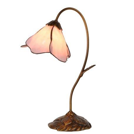 Tafellamp Tiffany 30*20*48 cm E14/max 1*40W Roze   5LL-5327   Clayre & Eef