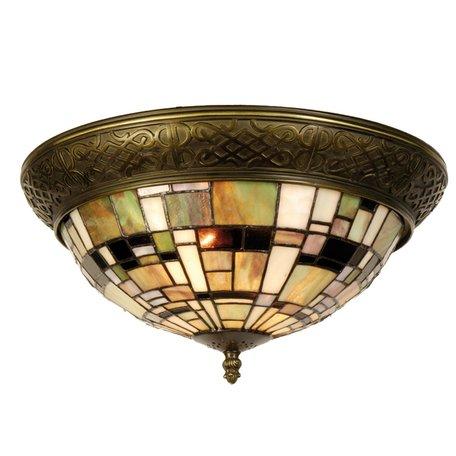 Plafondlamp Tiffany ø 38*19 cm E14/max 2*40W Meerkleurig | 5LL-5348 | Clayre & Eef