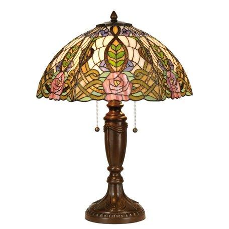 Tafellamp Tiffany ø 47*61 cm E27/max 2*60W Meerkleurig | 5LL-5370 | Clayre & Eef