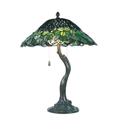 Tafellamp Tiffany ø 47*58 cm E27/max 2*60W Groen | 5LL-5386 | Clayre & Eef