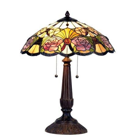 Tafellamp Tiffany ø 44*57 cm E27/max 2*60W Meerkleurig   5LL-5546   Clayre & Eef