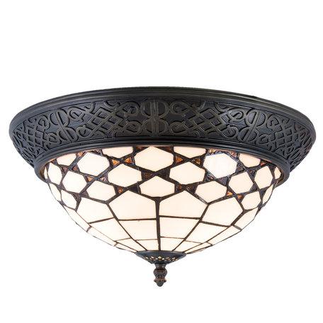 Plafondlamp Tiffany ø 38*19 cm E14/max 2*40W Wit | 5LL-5891 | Clayre & Eef