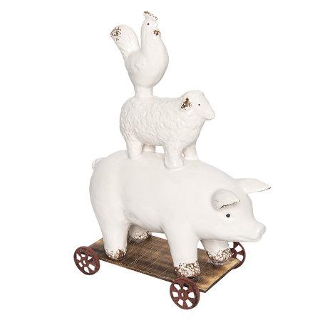 Decoratie dieren op wielen 21*11*30 cm Bruin | 6CE0932 | Clayre & Eef