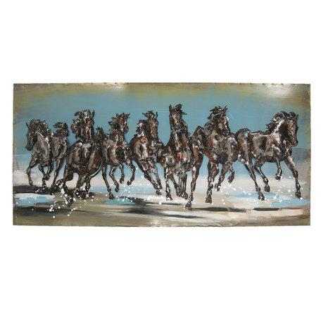 Wanddecoratie paarden 140*70*5 cm Multi | JJWA00016 | Clayre & Eef