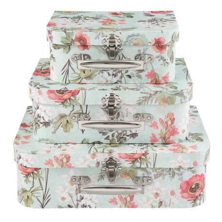 Decoratie koffer (3) 30*23*9/25*20*9/20*17*8 cm Multi | 63902 | Clayre & Eef