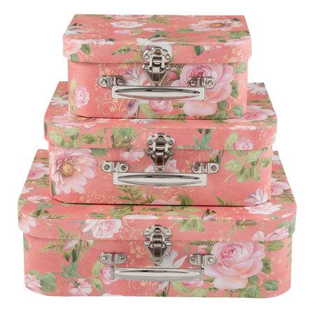 Decoratie koffer (3) 30*23*9/25*20*9/20*17*8 cm Roze | 63903 | Clayre & Eef