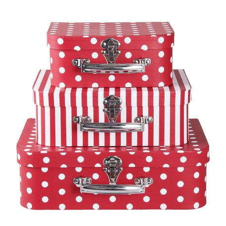 Decoratie koffer (3) 30*22*9/25*20*9/20*17*8 cm Rood | 64044 | Clayre & Eef
