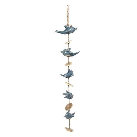 Windgong dolfijnen 15*10*70/80 cm Blauw | 6CE0928 | Clayre & Eef